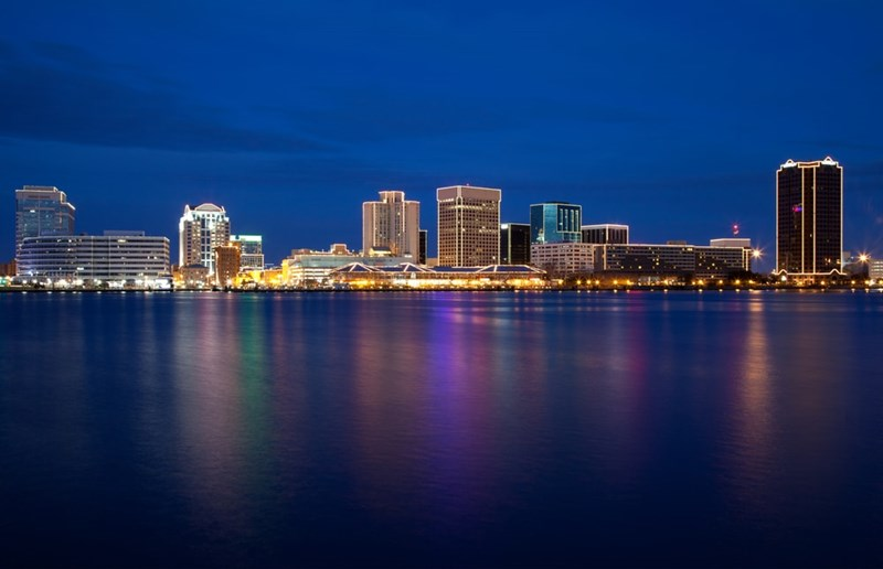 Norfolk Virginia Skyline at Night